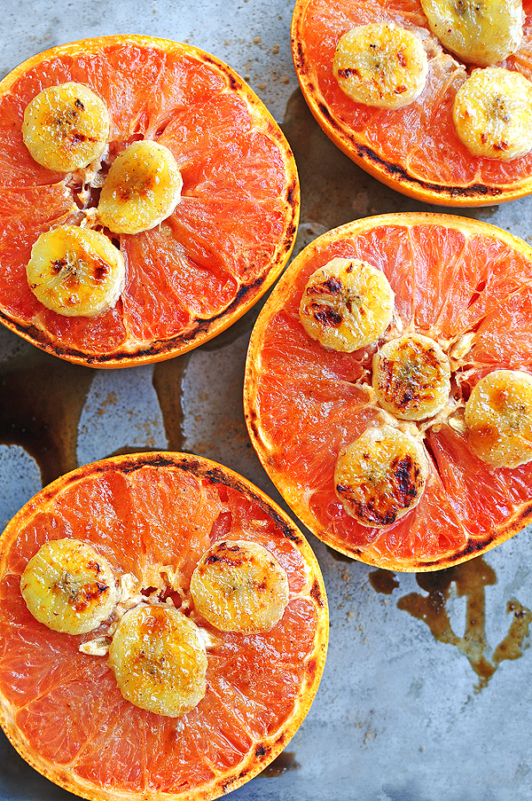 Broiled Grapefruits with Honey and Bananas