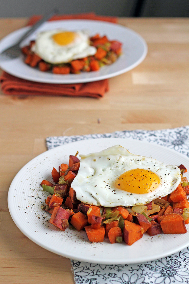 Sweet Potato and Leek Hash with a Fried Egg