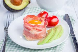 Paleo Bacon Wrapped Avocado Eggs